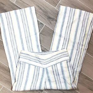 CATO Linen Striped Wide Leg Pant.